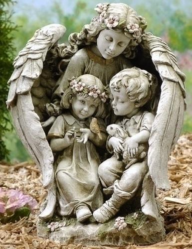 "16""  Guardian Angel Holding Children Outdoor Garden Statue. 15.75""H x 9.25""W x  8.5""D ~ Resin Stone Mix"
