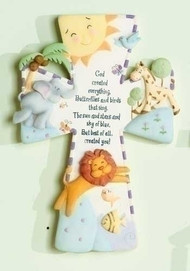 "God Created Everything Wall Cross . Dimensions: 7""H X 5""W X .75""D. Resin/stone mix. Gift Boxed"