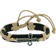 "Leather Bracelet with Side Cross. Made of Leather, Rope and Metal. Adjust Size w/Adjustable Slide Knot Approximately  6"" (maybe a bit bigger due to it being flexible). Proclaim your faith by wearing this handsome piece of Christian jewelry. Perfect for  youth, men and women too!  The sliding slipknot closure enables them to fit nearly everyone perfectly."