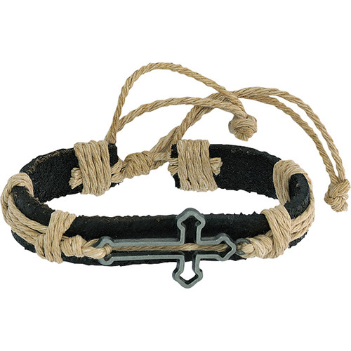 """Leather Bracelet with Side Cross. Made of Leather, Rope and Metal. Adjust Size w/Adjustable Slide Knot Approximately  6"""" (maybe a bit bigger due to it being flexible). Proclaim your faith by wearing this handsome piece of Christian jewelry. Perfect for  youth, men and women too!  The sliding slipknot closure enables them to fit nearly everyone perfectly."""