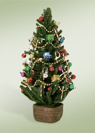 Byers Choice, Decor Tree with Lights!~Decorating the Christmas tree is a family tradition enjoyed around the world. This Victorian Christmas tree is beautifully decorated in classic glass ornaments; requires 3 AA batteries.