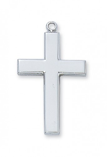 """Boys Rhodium CrRhodium Plated Cross  24"""" Chain. 1-1/4"""" in Length.  Gift Box Included. oss (160020)"""