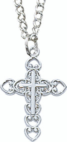 Girls Cross and Heart Pendant (160019)