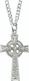 "Sterling Silver Celtic Cross design pendant on an 18"" Stainless Steel Chain"
