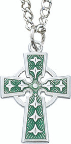 "Boys enameled green Celtic Cross with 18"" Stainless Steel Chain."