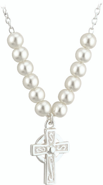 """Silver Plated Celtic Cross Pendant comes on a 16"""" Chain with Glass Pearls. Complements Items 120113 & 120114 (Matching Earrings & Bracelet)"""