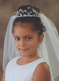 First Communion Tiara, Wire with Pearls and Flowers