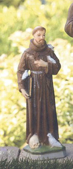 """St. Francis Finishes: Natural or Detailed Stain Height 16.6"""" Width 5.5"""" Base Width  5""""  Weight 10 lb Statues vary slightly in design. See individual pictures for specific information. If not in stock, please allow 3-4 weeks for delivery. Made in the USA!"""