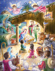 """Children gather in the manger as angels hover above in this traditional Nativity Advent calendar. Countdown to Christmas by opening a window each day during Advent to reveal a special picture. The front is accentuated with glitter and bible text that follows the story of the Nativity is presented on the back of each window. This Advent calendar measures 11""""x14"""". Easy to hang or display anywhere! Artwork by Randy Wollenmann."""