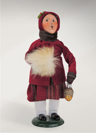 This Burgundy and Gold Family Girl is ready for the season with her furry muff hand warmer and her Christmas tree ornament!