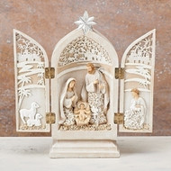 "8.5"" Triptych Holy Family in a paper cut design. dimensions: 8.46""H x 1.97""W x 7.87""L. Materials: Resin/Domolite"