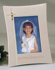 "9.25"" First Holy Communion Frame. Hods a 4"" x 6"" picture. Adorned with Cross and Chalice on left side of frame."