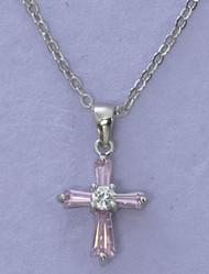 Pink Cubic Zirconia Cross Pendant (Matching earrings Item #160003)