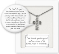 "Small Cross Pendant with Vision of Our Lord's Prayer. Look into the crystal center to see a picture of our Lord's Prayer in its entirety!  13"" Silver Plated with 1.5"" chain extender.  Gift Boxed"
