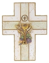 "My First Holy Communion Wall Cross with Chalice. Resin/Stone Blend. Measures 6.88""H x 5.25""W x 0.38. Gift Boxed. Matching picture frame (#96280083) and keepsake rosary box (#63107) also available."