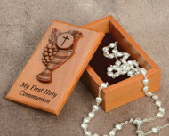 "2 1/2"" X 4"" ""My First Communion"" Keepsake Box. Mahogany Wood, Laser Cut, Velvet Lined. Rosary Not Included!"