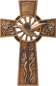 "Confirmed in Christ Collection. 7.75"" Wall Cross~ Resin/Stone mix with Bronze Finish. See also matching Keepsake Box and Picture Frame See also Keepsake Box (#130073) and Picture Frame (#130074)"