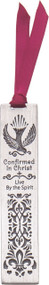 "Confirmed in Christ Pewter Bookmark with dove and decorative design. Says ""Confirmed in Christ, Live by the Spirit"". Comes with a satin burgundy ribbon. 3.5"" x .75""."