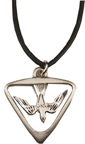 """Pewter Holy Spirit Medal comes on a  24"""" Black Leather Cord with claw clasp. Carded only."""