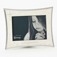 """5.5"""" Ivory Confirmation Frame from the Caroline Collection. Holds a 4"""" x 6"""" picture. Adorned with a silver cross on left side and the word """"Confirmation"""" across the bottom of frame. Zinc alloy, lead free."""