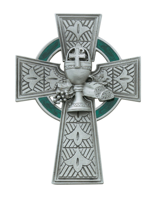 """4 3/4"""" Celtic Wall Cross with green enamel inlay"""