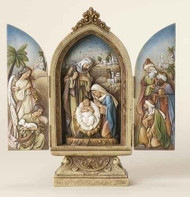 "9"" Holy Family Triptych with Kings and Angel. Materials are a Resin/Stone Mix. Dimensions: 9""H x 4.25""W x 2.25""D"