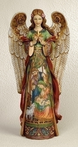 """Angel Figure Holding Star, Holy Family in skirt. Dimensions: 15.75""""H  x 7.5""""W x 4""""D. Resin/Stone Mix"""