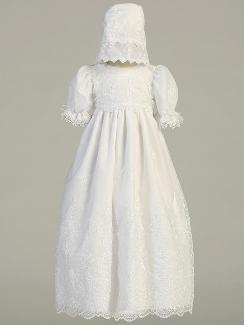 Emily ~ Long Sleeve Embroidered Organza Gown.