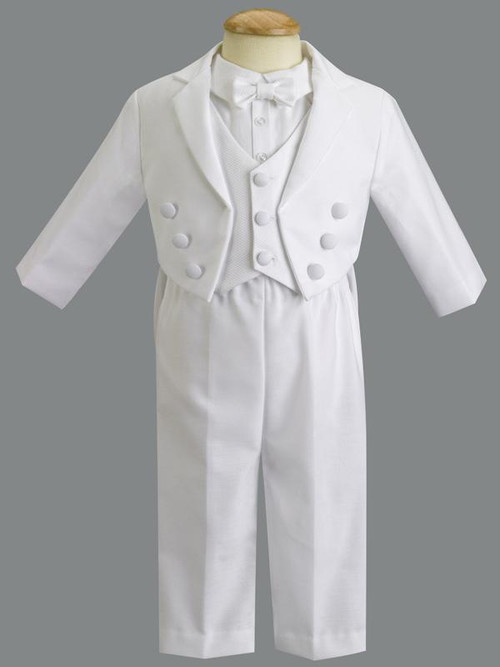 Jeffrey ~ Cotton Tuxedo with Pique Vest and Body Suit style shirt. Sizes : 0-3m, 3-6m, 6-12m, 12-18m, 18-24m, 2T. Made In USA