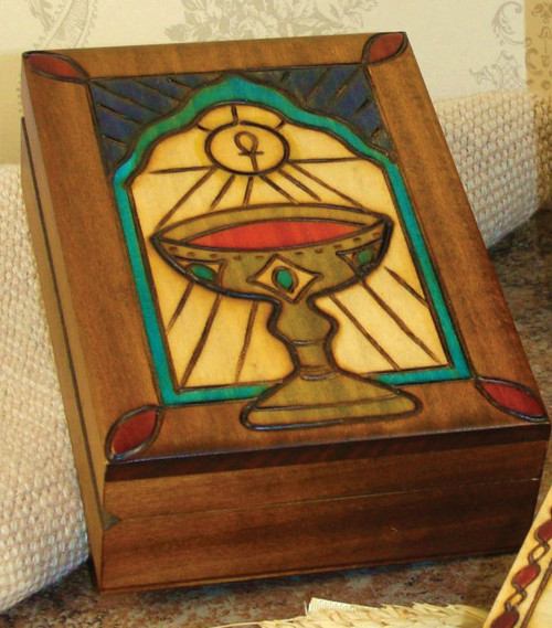 """Chalice Design - Handmade Wood Keepsake Box from Poland, 5"""" x 3.75. Beautifully etched in colored wood. Interior of box is lined with balsa wood. Also available is a Cross Box (Item 37851) 2.75"""" x 2.75"""", and a Bible Box (37856) 5"""" x 3.75'."""