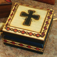 "Handmade Wood Keepsake Box from Poland, Cross Box  2.75"" x 2.75"". Beautifully etched in colored wood. Interior of box is lined with balsa wood. Also available is a , Chalice Design Box (37856)  5"" x 3.75, and a Bible Box (37858) 5"" x 3.75'."