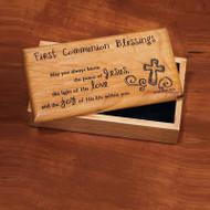 """Solid wood box lined with soft fabric, and a laser engraved lid. First Communion Blessing:  """"May you always know the peace of Jesus, the light of His love, and the joy of His life within you."""" 7"""" x 3.5"""" x 2.25""""."""