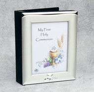 "Satin Finish and Silver Plated Photo Album with Embossed Communion Design. Holds 3.5"" x 5"" photo on Front. Holds 100 4"" x 6"" Photos. Gift Boxed.Complements picture frames #13128 and #48422!"