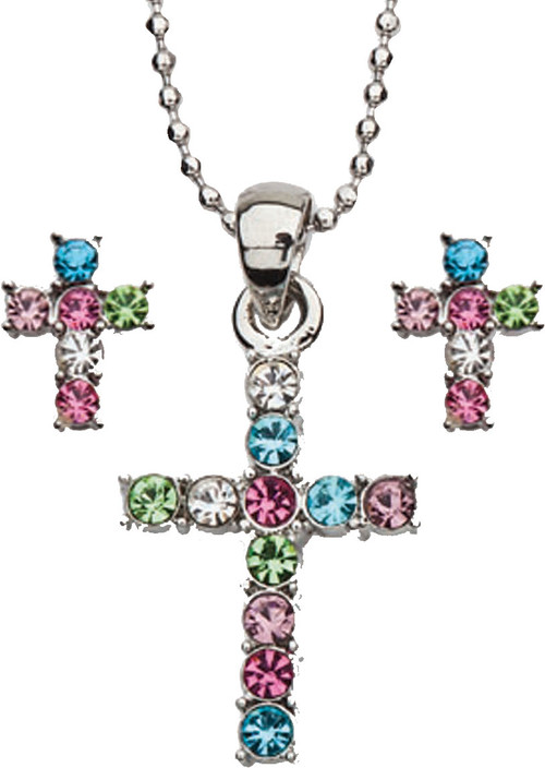 "Multicolored Pastel Colors Cubic Zirconia Cross Necklace and Earring Set. Rhodium Plated 16"" Bead Chain. Gift Boxed."