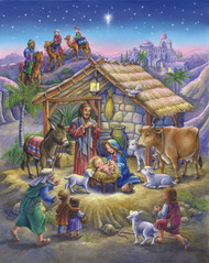 "A brilliant rendition of the traditional Nativity scene. These beautifully illustrated jigsaw puzzles are perfect for passing the time in anticipation of Christmas. They also make great gifts for kids and adults alike! All of our signature puzzles are made in the United States with recycled materials ensuring quality craftsmanship. Puzzle includes 1000 pieces and measures 24""x 30"" when completed."