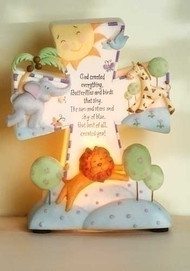 "God Created Everything Night Light . 6.5""H X 5.5""W X 2.25""D. Resin/stone mix. Gift Box"