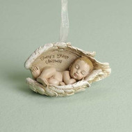 "3.5 inch Baby Keepsakes Ornament  ""Baby's First Christmas"" written on inside of angel wing. Dimensions: 2.125""H x 3.5""W x 2""D. Materials: Resin/Stone Mix"