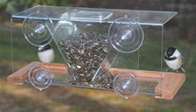 Songbird Essentials Clear Window Mounted Bird Feeder. 4 Cup Capacity V Shaped Hopper with Cover.