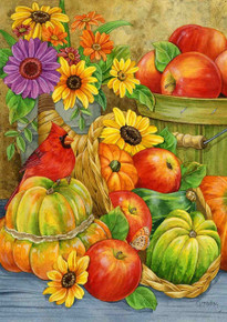 "Abundant Blessings Fall House Flag Thanksgiving Floral Pumpkins Apples 28"" x 40"""