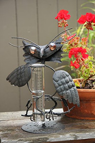 Toland Home Garden Owl Decorative Outdoor Tabletop Rain Gauge Statue with Glass Udometer for Yards, Gardens, Patios, Porches, and Decks 210606