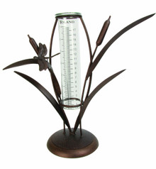 Toland Home Garden Cattail Decorative Outdoor Tabletop Rain Gauge Statue with Glass Udometer for Yards, Gardens, Patios, Porches, and Decks 210603