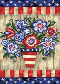 Toland Home Garden Patriotic Flowers 12.5 x 18-Inch Decorative USA-Produced Garden Flag