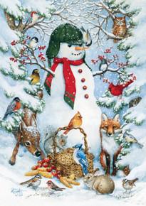 Toland Home Garden Woodland Snowman 12.5 x 18-Inch Decorative USA-Produced Garden Flag