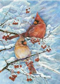 Toland Home Garden Cardinals & Berries 12.5 x 18-Inch Decorative USA-Produced Garden Flag