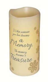 "6"" Flameless Vanilla Scented Memory Pillar Candle With Flickering Led Light"
