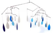 Blue Handworks Glass Raindrops Mobile Yard Art