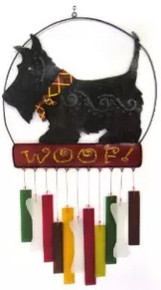 Blue Handworks Glass Wind Chime, Angus Scottie Dog