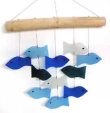 Blue Handworks Glass Wind Chime, Swimming Fish