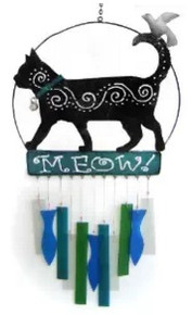 Blue Handworks Glass Wind Chime, Cat's Meow