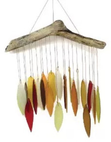Blue Handworks Glass Fall Leaves Wind Chime